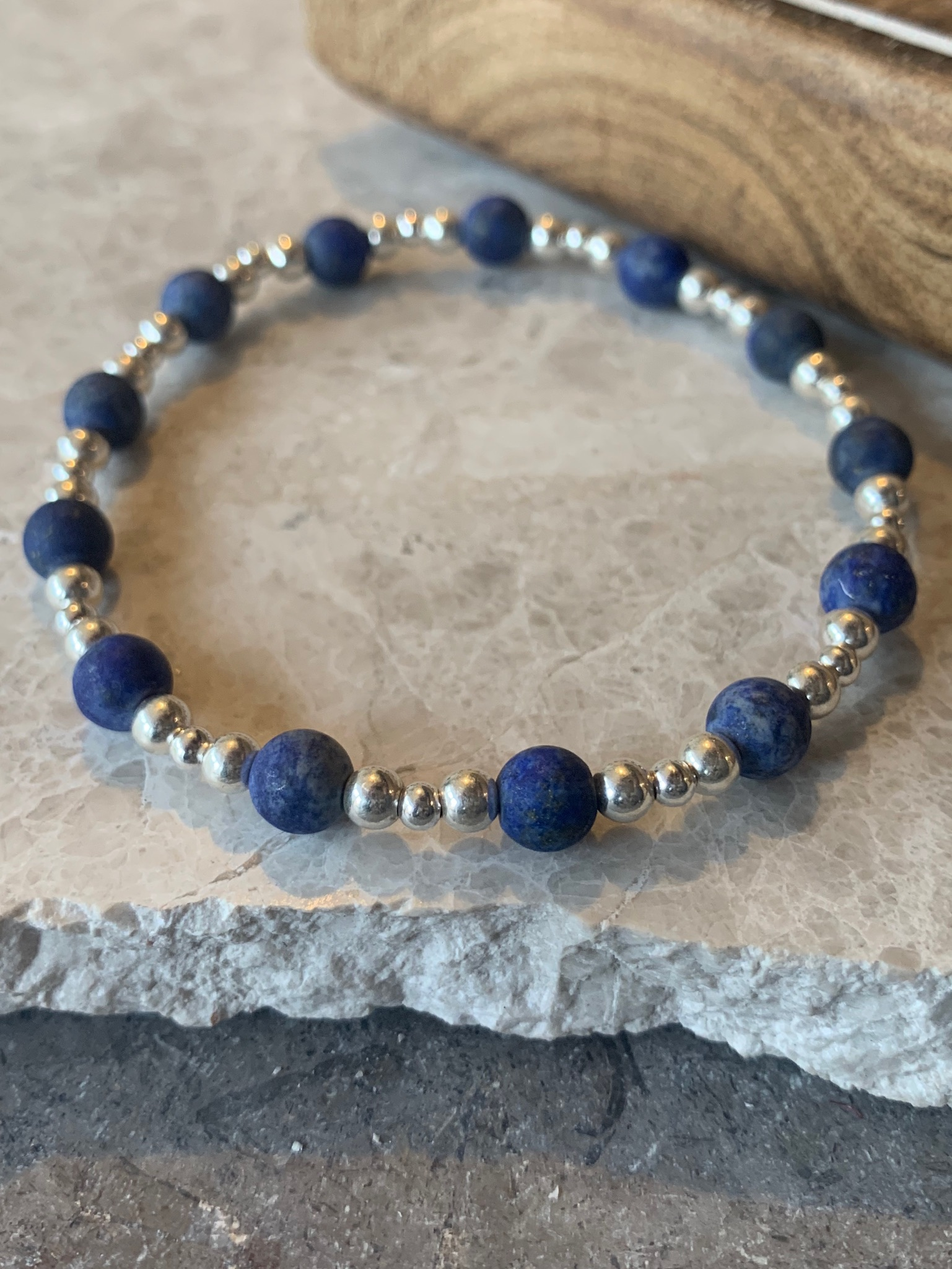 Sterling silver ands frosted blue beaded bracelet